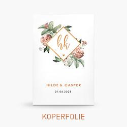 Trouwkaart koperfolie met bloemen