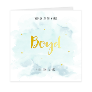 Goudfolie geboortekaartje jongen goudfolie watercolour mint