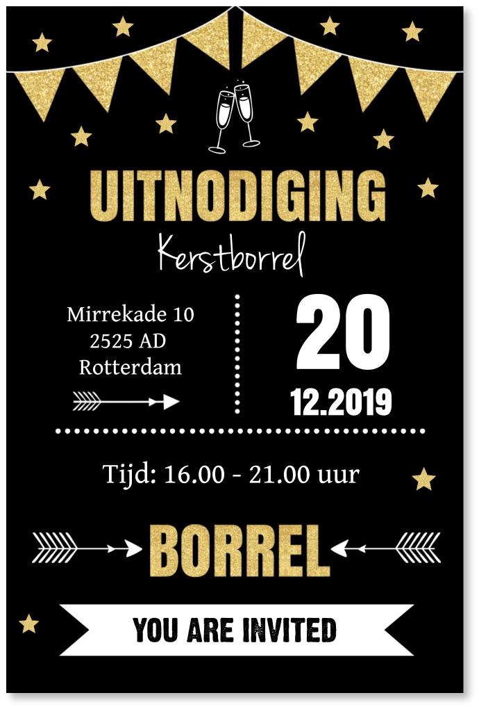 Uitnodiging kerstborrel typografie