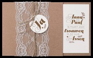 Stoere en elegante trouwkaart met kraftpapier I 728026