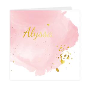 Goudfolie geboortekaartje met meisjesnaam en hartjes in goud