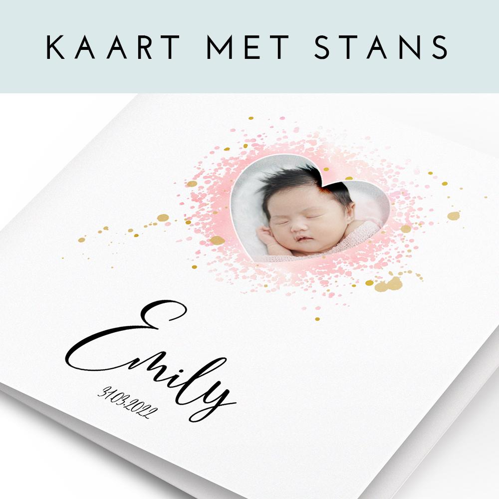 Geboortekaartje met uitsnede foto en verfspetters