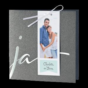 Chique trouwkaart met zilverfolie I 108914