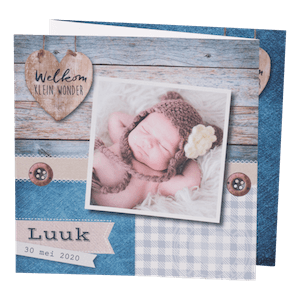 Stoer geboortekaartje met hout en foto I 586022