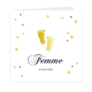 Goudfolie - Lief geboortekaartje met gouden voetjes
