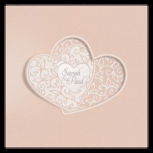 Klassiek trouwkaartje van Belarto met verstrengelde harten I 728024