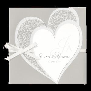 Stijlvolle trouwkaart met grote harten I Belarto 727041