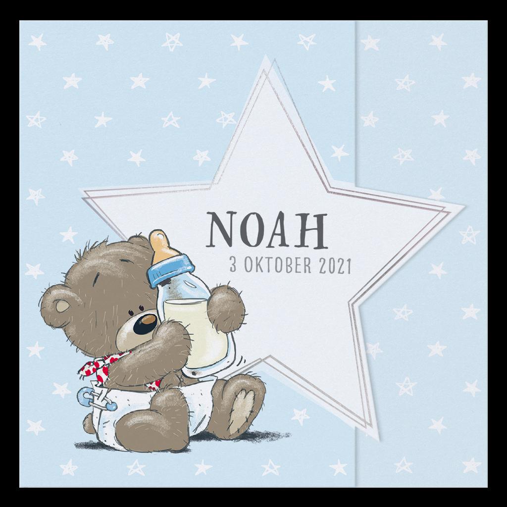 Lief babykaartje met beertje en sterren I 718000