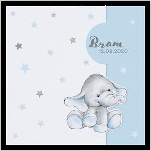 Lief geboortekaartje van Belarto met olifantje en sterren I 717011