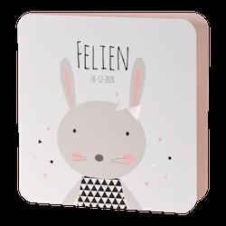 Illustratief geboortekaartje met konijn 507034