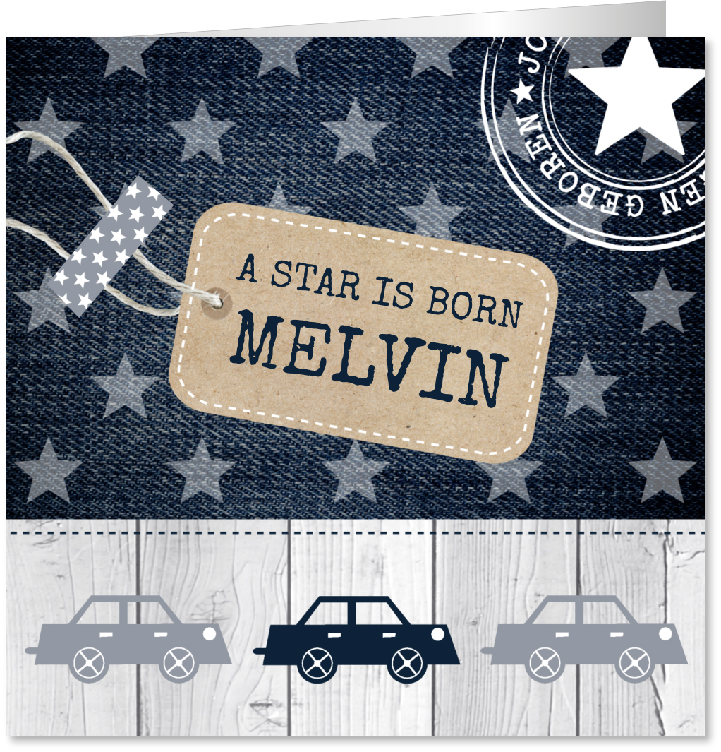Geboortekaartje jongen sterren