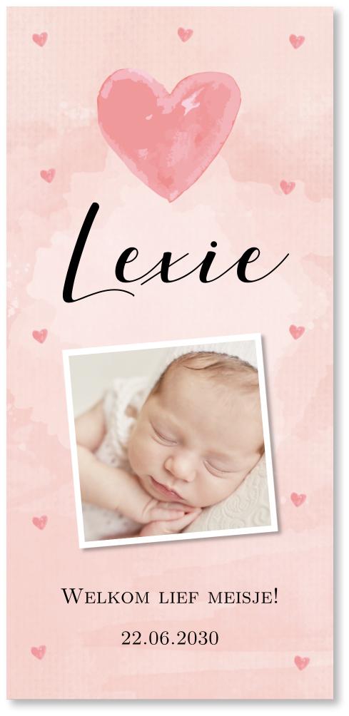 Geboortekaartje meisje foto waterverf