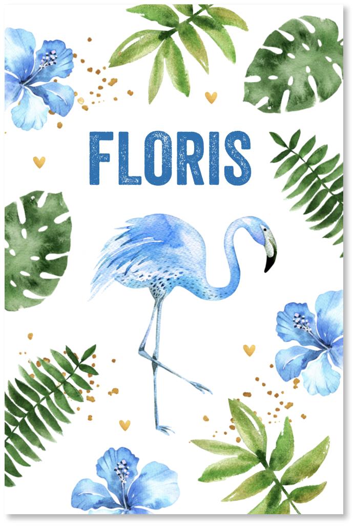 Geboortekaartje botanical flamingo