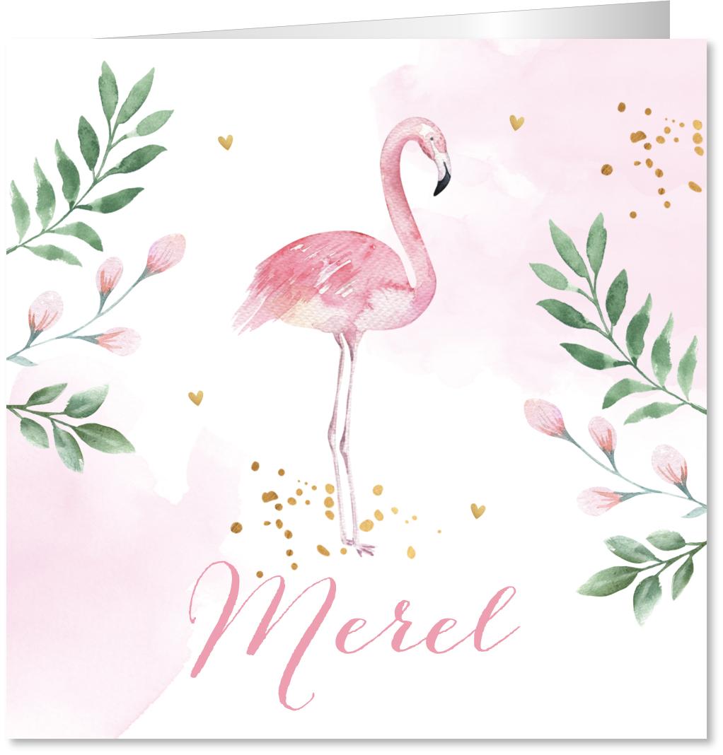 Geboortekaartje flamingo waterverf