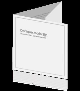Drieluik rouwkaart met tekst en kader in grijs