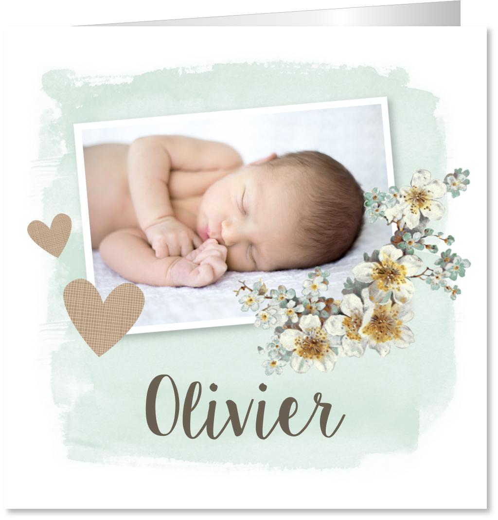Geboortekaartje foto bloemen waterverf