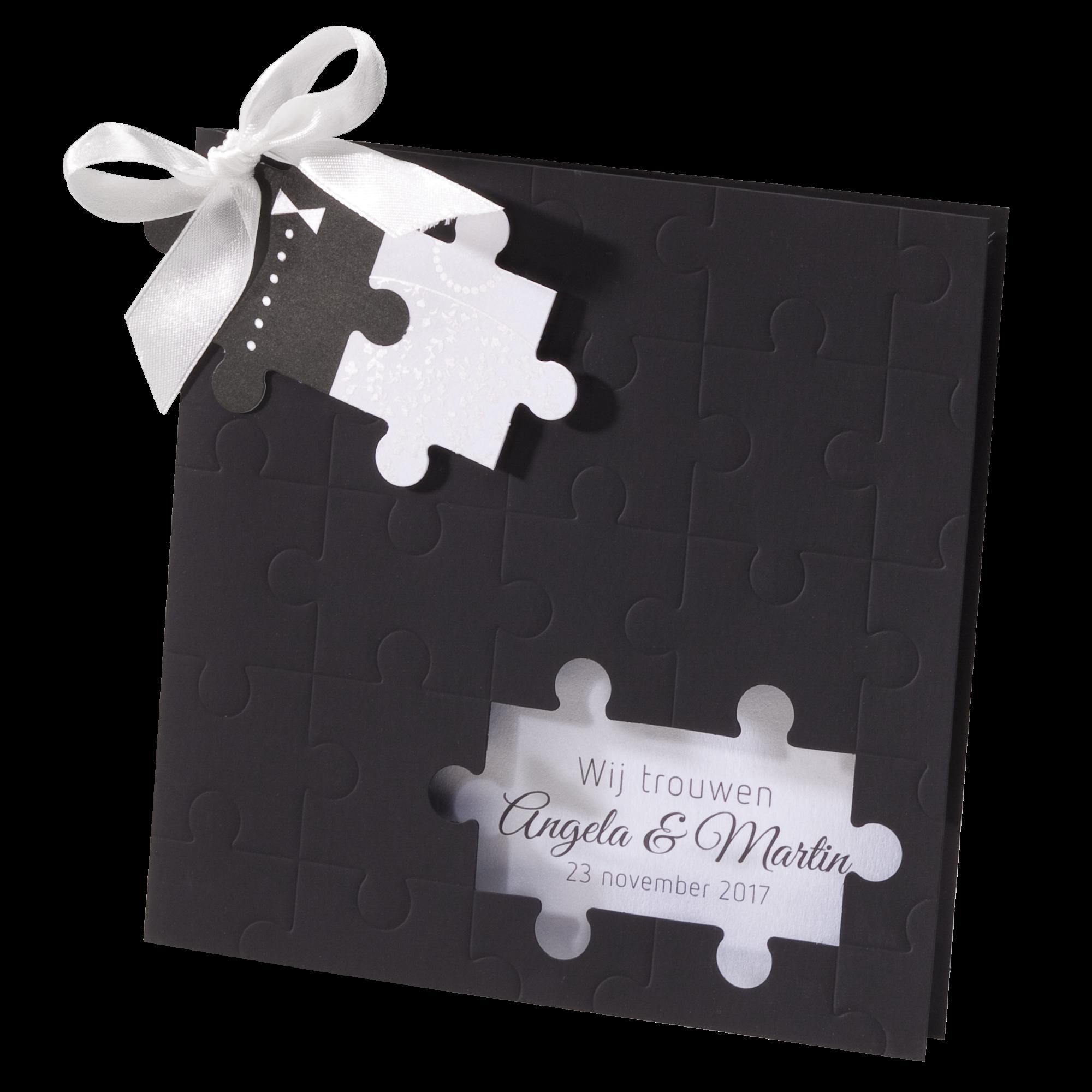 Originele trouwkaart met puzzelstukje I 725073