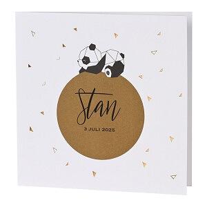 Geboortekaart met panda en driehoekjes in koperfolie I Buromac 589096