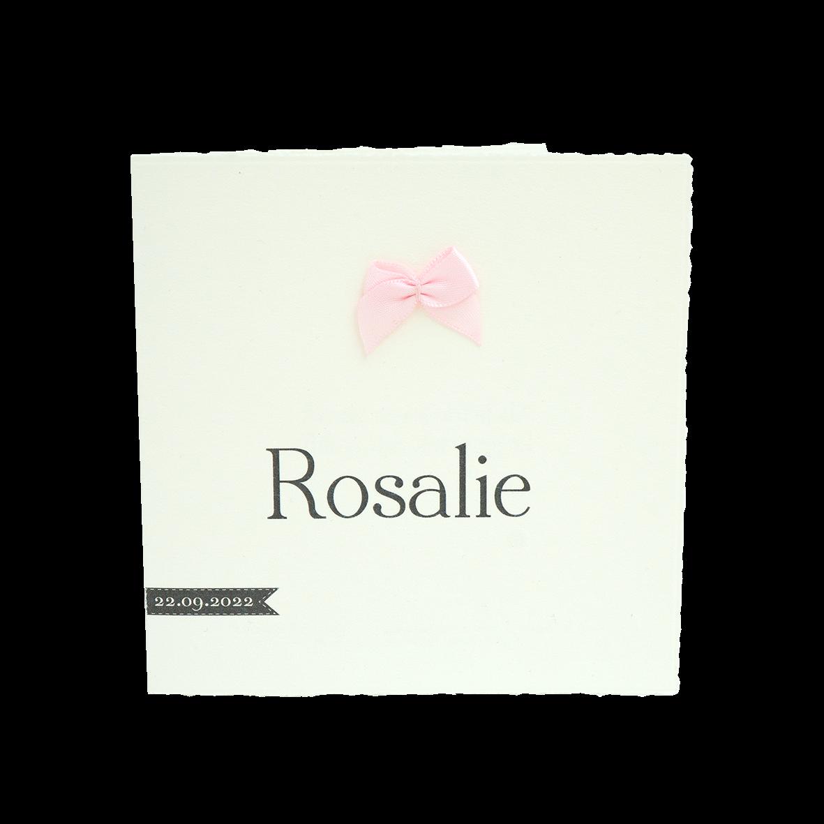 Geboortekaartje klassiek met echt roze strikje