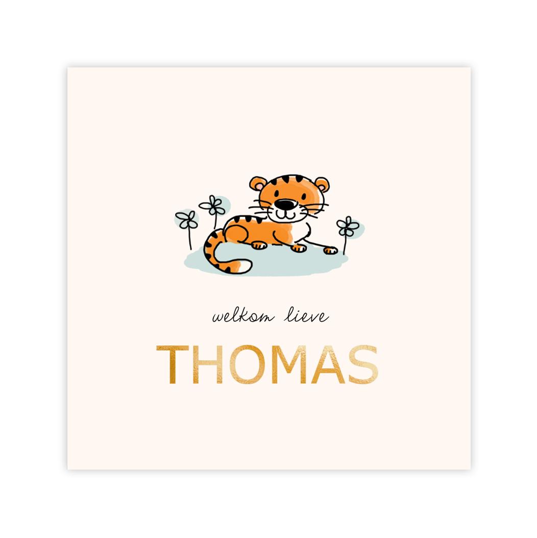 Goudfolie babykaartje jongen met getekende tijger