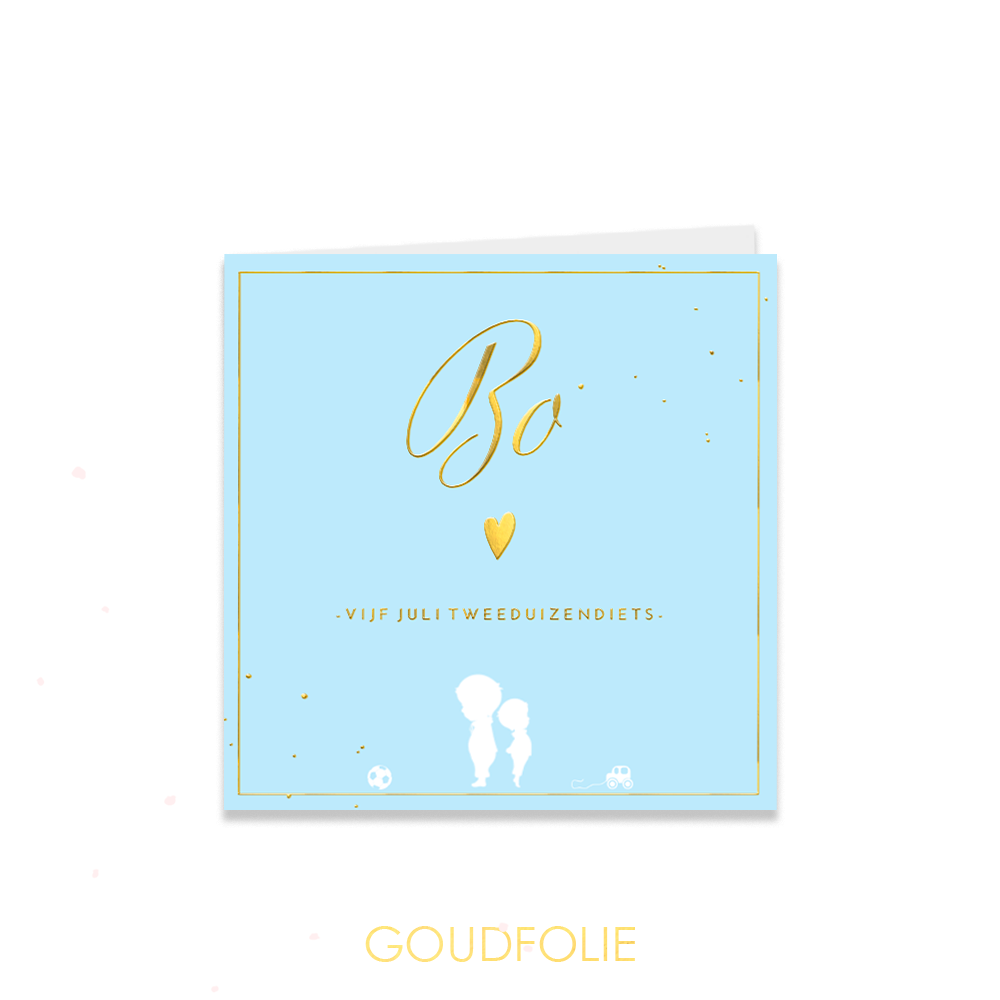 Goudfolie geboortekaartje met silhouetten