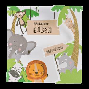 Stoer geboortekaartje van Buromac met jungledieren I 507087