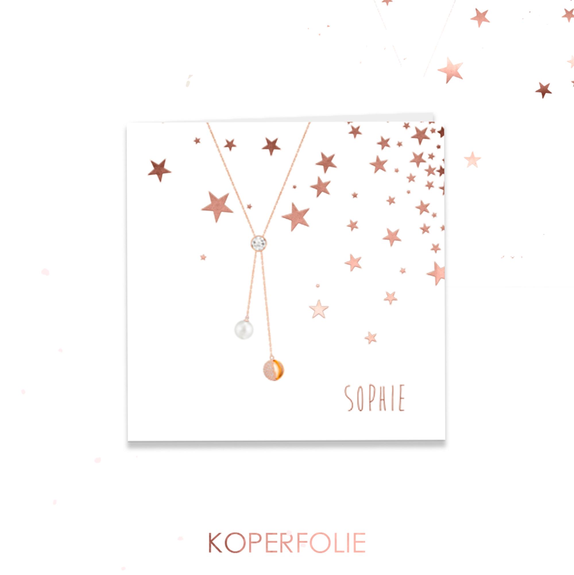 Koperfolie geboortekaartje met ketting en sterren
