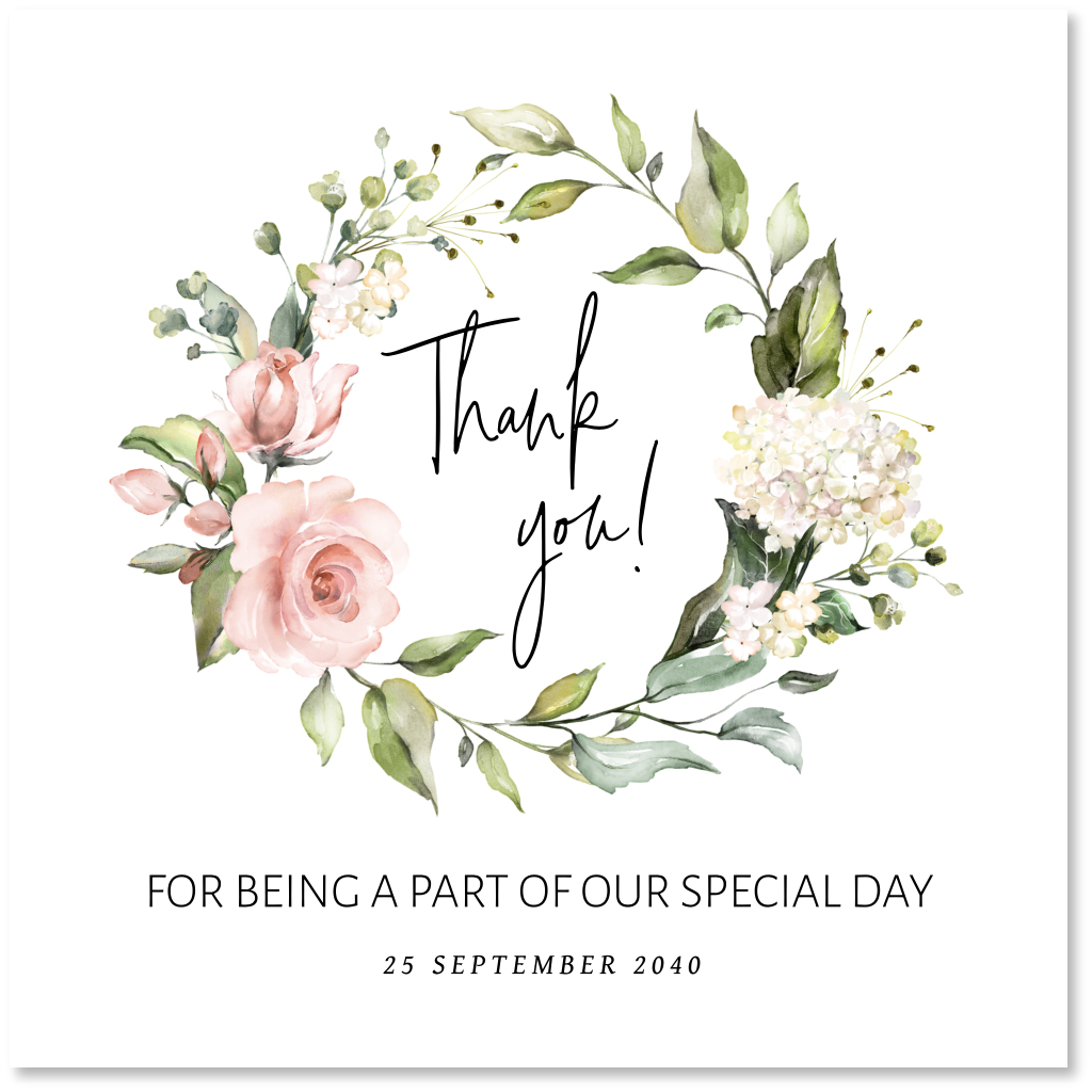 Bedankkaart bloemenkrans