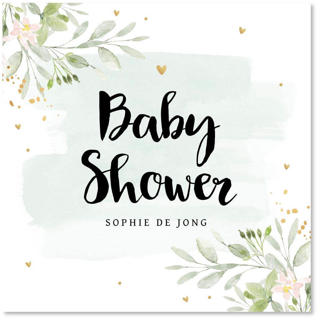 Babyshowerkaart waterverf bloemen