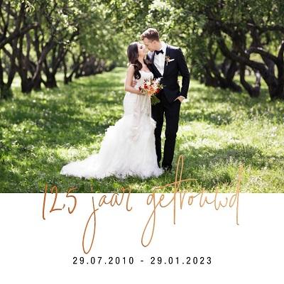 Koperfolie uitnodiging 12,5 jaar getrouwd met foto
