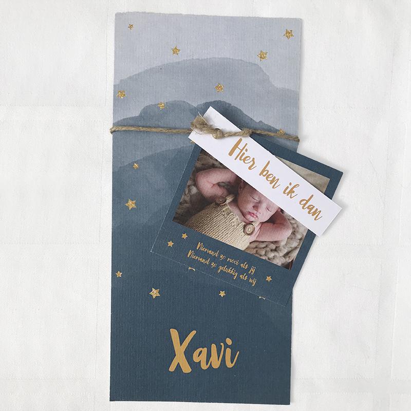 polaroid labelkaartje voor aan geboortekaartje met goud