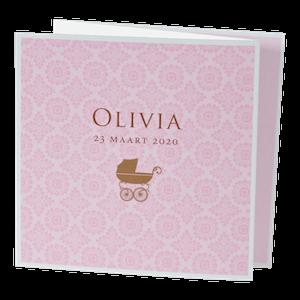 Klassiek geboortekaartje met silhouet van kinderwagen I 583023