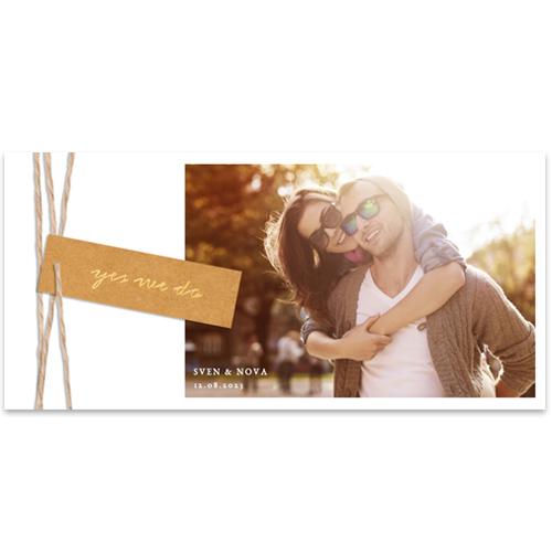Foto trouwkaart met écht label en touw