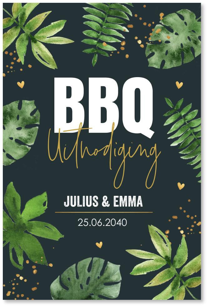 BBQ uitnodiging botanical