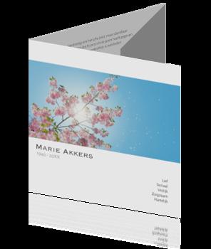Drieluik rouwkaart met bloesem
