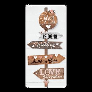 Stoere trouwkaart met wegwijzer I Belarto 726007