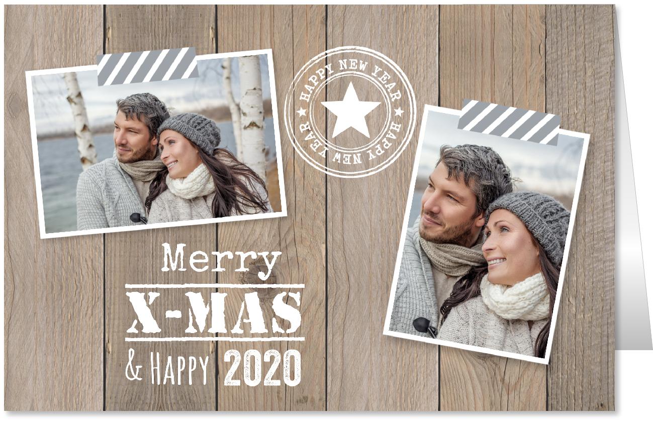 Kerstkaart foto houtprint