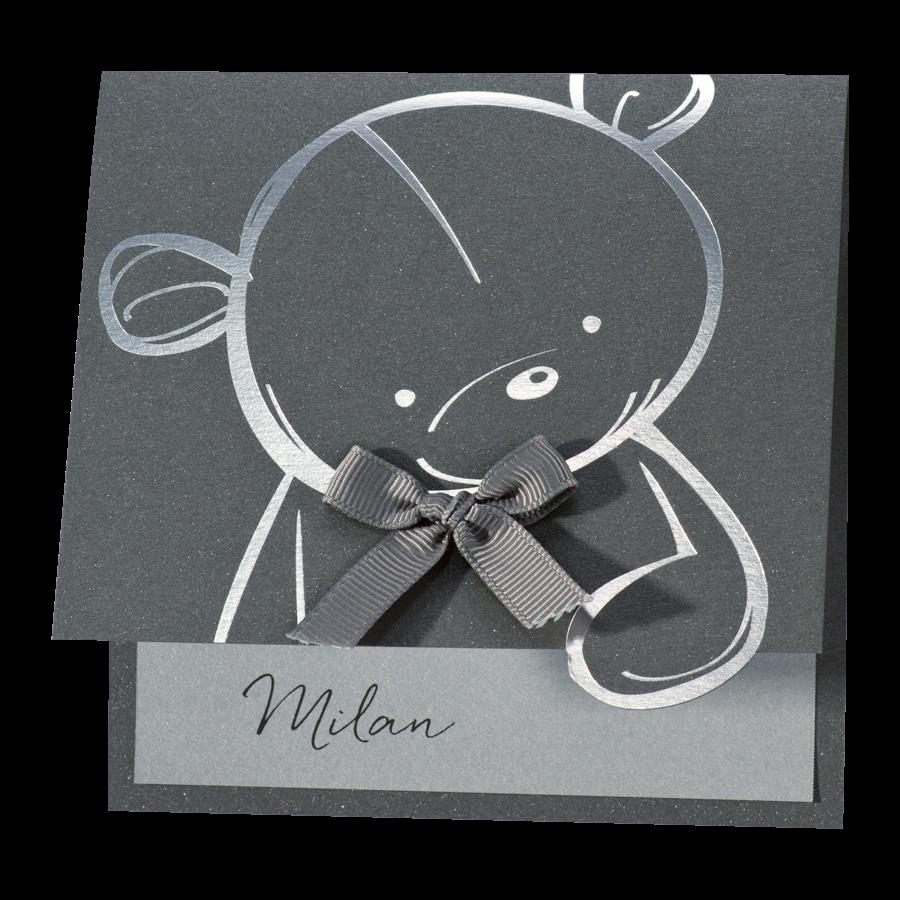 Lief geboortekaartje met zilverkleurige teddybeer I 507055