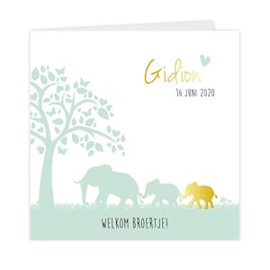 Geboortekaartje met goudfolie olifant