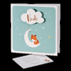Lief geboortekaartje met vosje plus maan en wolkje I 507042