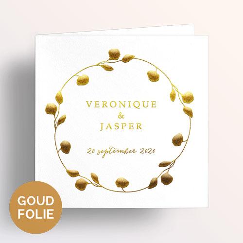 trouwkaart goudfolie eucalyptus krans