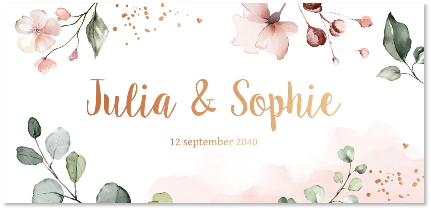 GOUDFOLIE geboortekaartje tweeling bloemen