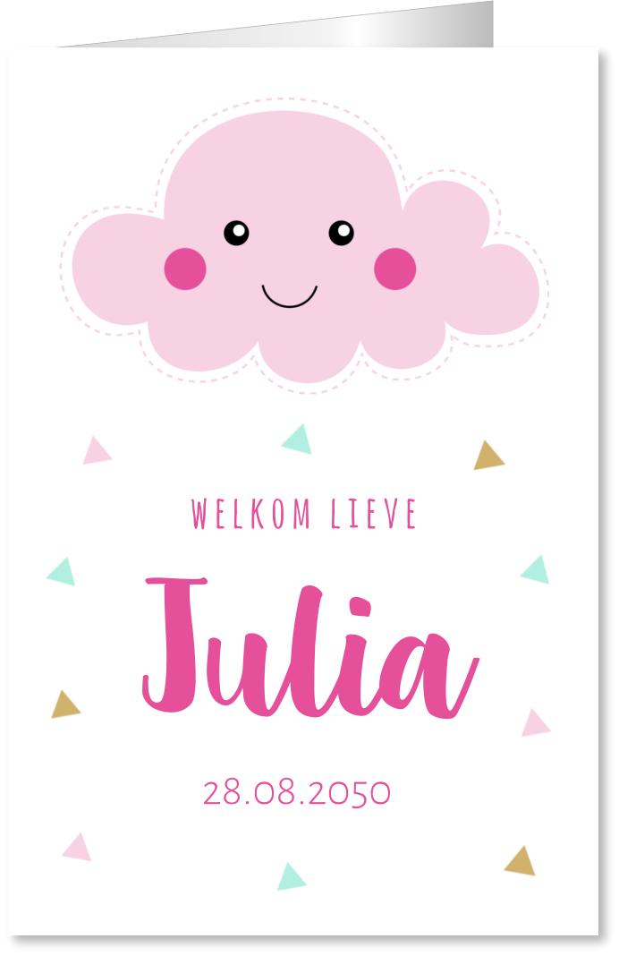 Geboortekaartje wolkje roze