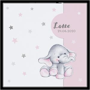Lief geboortekaartje met olifantje en sterren I 717010x