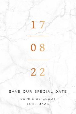 Save the Date kaart met koperfolie en marmerlook