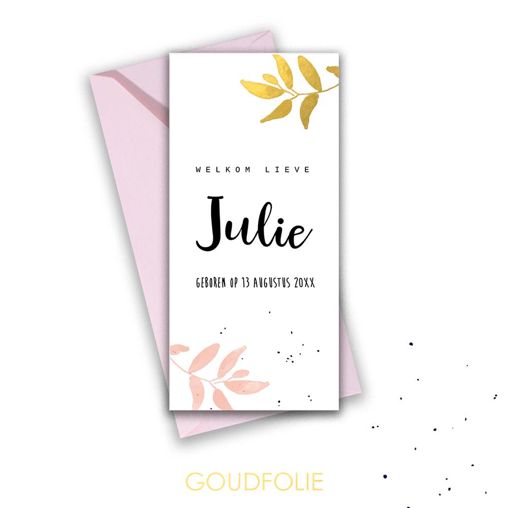 Goudfolie hip geboortekaartje met botanical takjes in roze en goud