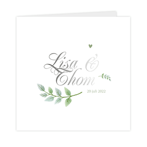 Zilverfolie trouwkaart met blaadjes en hartjes