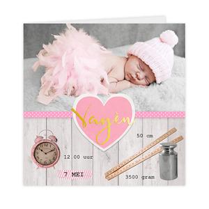Goudfolie geboortekaartje met foto en stoer hout