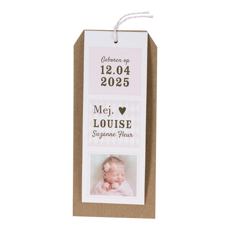 Stoere label geboortekaart voor een meisje met foto en kraft I 589068