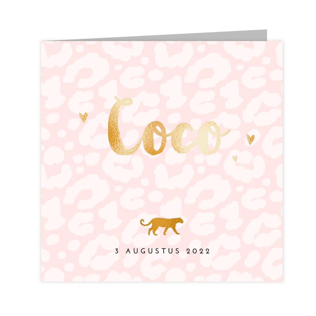 Stoer goudfolie geboortekaartje met panter in goud op roze print